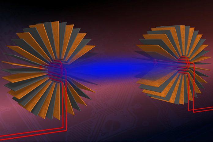 Esquema de montagem experimental, desenvolvido por investigadores da UAB, para transferir energia entre dois circuitos. Autor: Jordi Prat