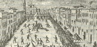 Reprodução de: 'Kulturgeschichte des Sports', C.H.Beck, p.181: Fresco por Jan van der Straet: 'Calcio' jogado em frente de Santa Maria Novella, 1558 (Palazzo Vecchio, em Florença)