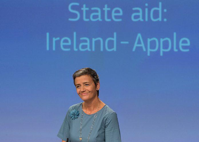 Conferência de imprensa de Margrethe Vestager.