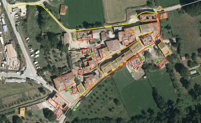 Zonas afetadas pelo terramoto em Itália.
