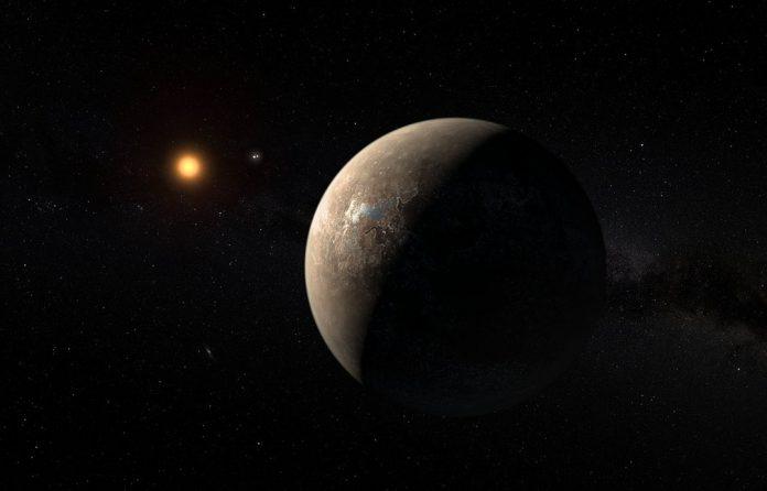 Ilustração do planeta Proxima b a orbitar a estrela anã Proxima Centauri.