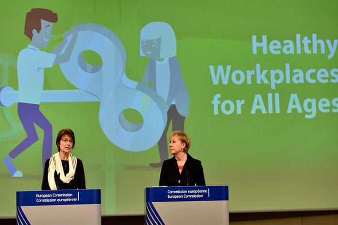 Comissária Europeia Marianne Thyssen e Christa Sedlatschek, diretora da EU-OSHA, Foto CE