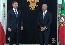 Andrzej Duda, Presidente da República da Polónia (à esquerda) e Marcelo Rebelo de Sousa, Presidente da República Portuguesa (à direita)