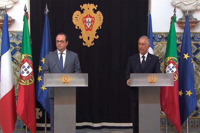 Presidente François Hollande (esquerda) e Presidente Marcelo Rebelo de Sousa (direita)