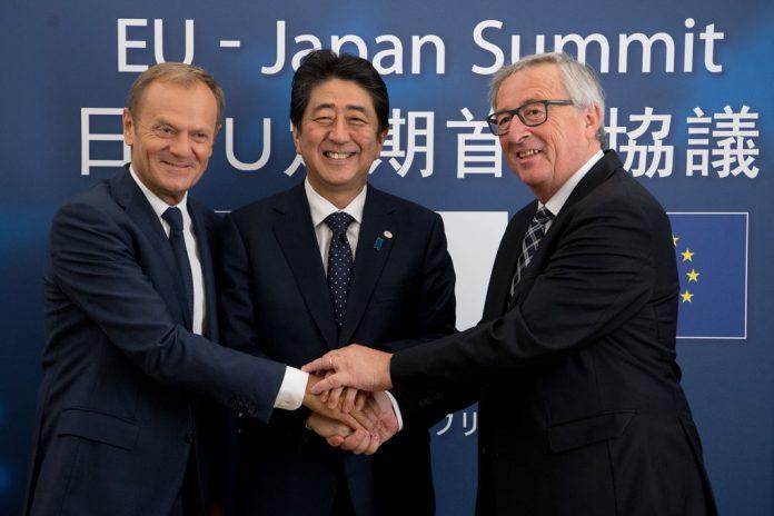 Donald Tusk, Shinzō Abe, Jean-Claude Juncker