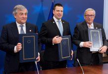 Jean-Claude Juncker, Juri Ratas, Antonio Tajani