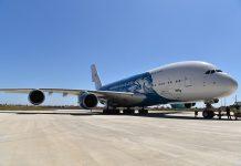 Novo Airbus A380 da Hi Fly aterra em Beja
