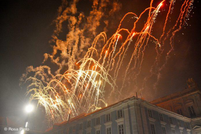 Festa de fim de ano de 2018 no Terreiro do Paço em Lisboa