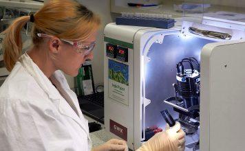 Teste de legionella em 35 minutos. A investigadora Catharina Kober com um chip LegioTyper na plataforma de análise de microarrays MCR.