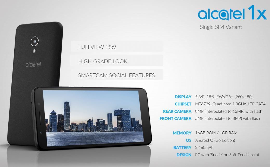 Alcatel 1X com Android Oreo, edição Go, já está disponível