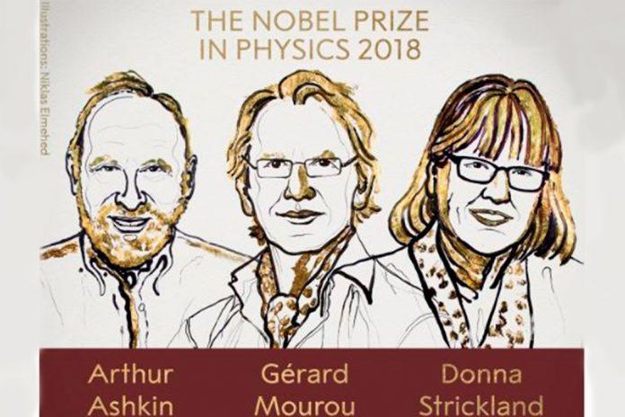 Arthur Ashkin, Gérard Mourou e Donna Strickland. Prémio Nobel da Física de 2018