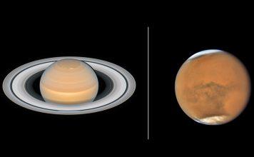 Novas imagens de Saturno e Marte, do Hubble, quando estão próximos da Terra