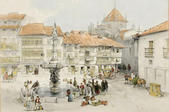 Largo do Paço, pintura de George Vivian, 'Scenery of Portugal & Spain'