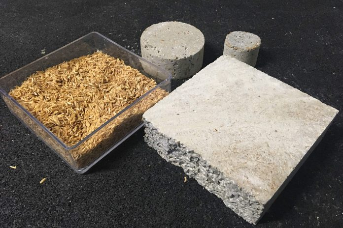 Pré-fabricados de betão com casca de arroz para construção sustentável