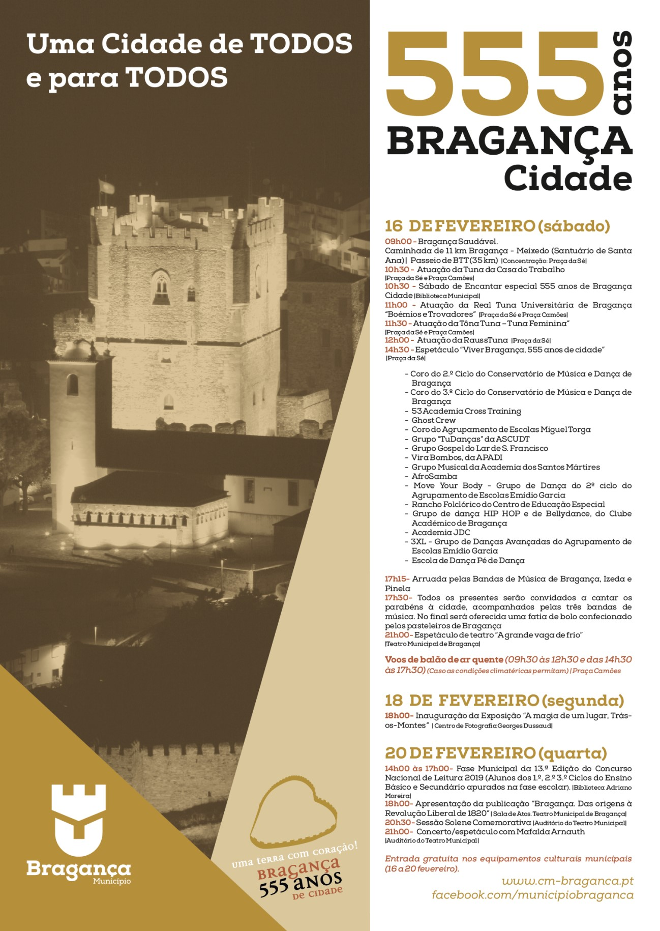 Bragança comemora os 555 anos de cidade