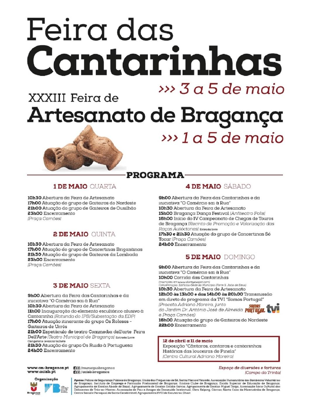 Feira das Cantarinhas 2019 de 3 a 5 de maio em Bragança
