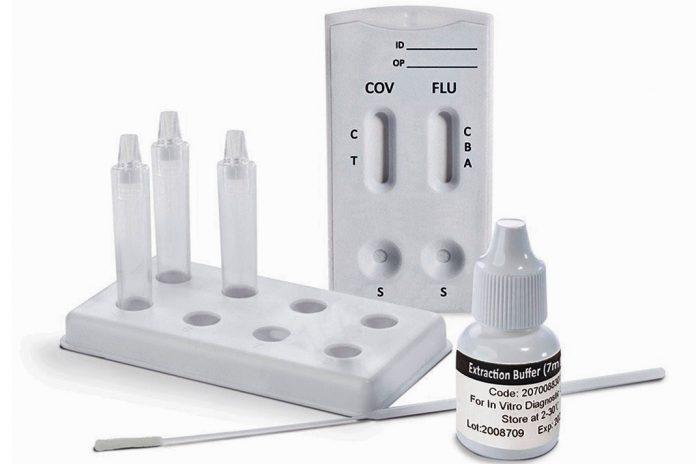 Teste rápido único para COVID-19 e Gripe