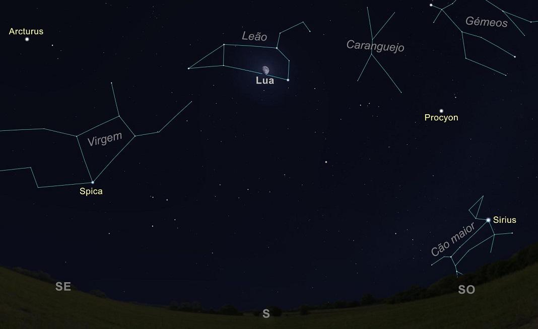 A Lua na constelação de Leão, a passar a Sul, às 22h00 do dia 22 de abril de 2021